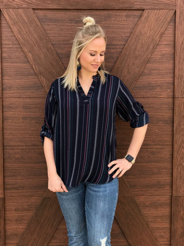 Navy Collared Striped Blouse