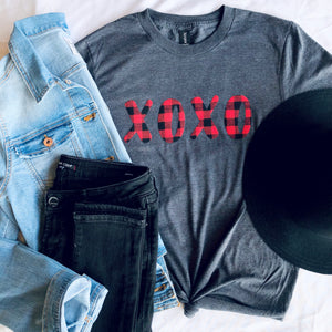 "Buffalo Plaid ""xoxo"" Tee"