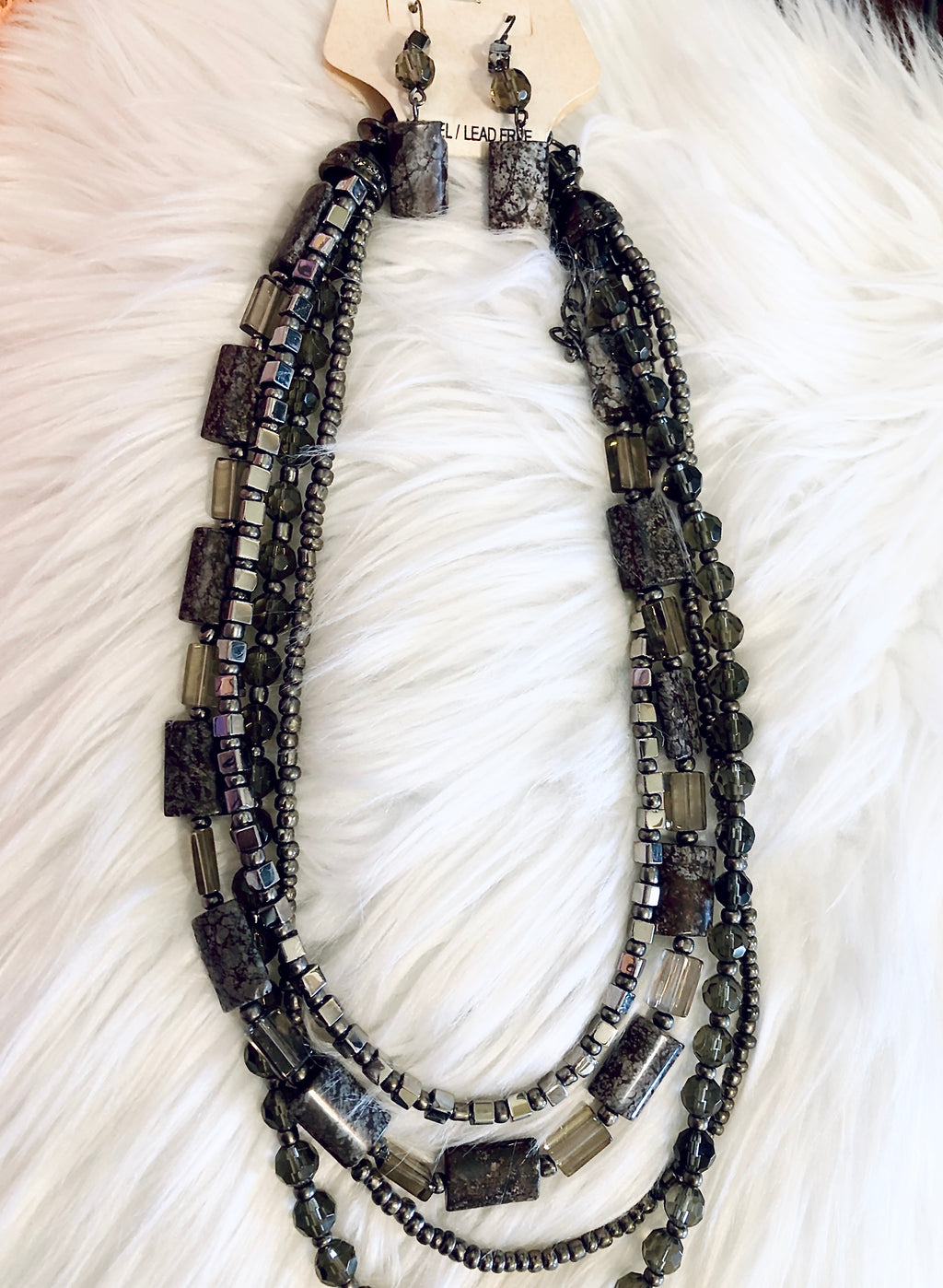 Layered Gunmetal Stone Jewelry Set