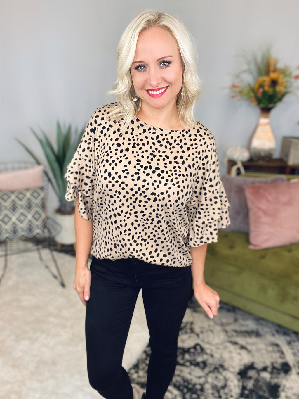 Taupe Cheetah Ruffle Sleeve Top