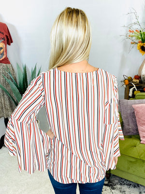 Ivory Striped Lace Up Sleeve Blouse