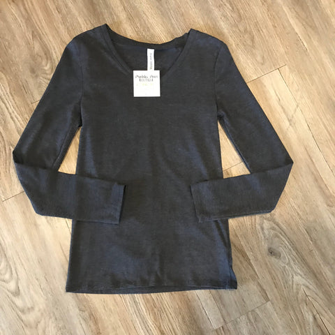 Charcoal V-Neck Fitted top