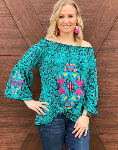 Turquoise Snake Printed Tunic Top