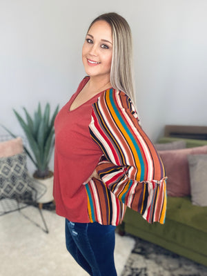 Terracotta Striped Plus Top