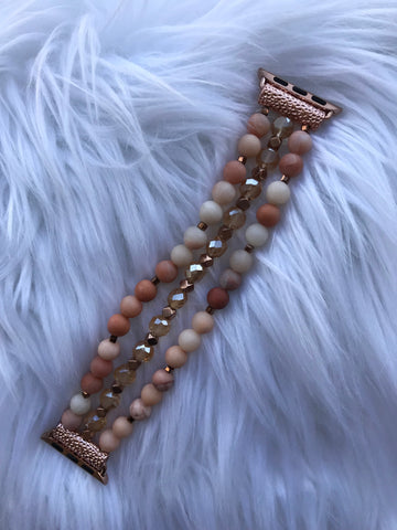 Pink Beaded Stretch 38MM Watch Band