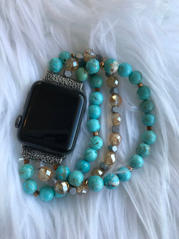Turquoise Beaded Stretch 38MM Watch Band