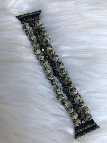 Black Beaded Stretch 38MM Watch Band