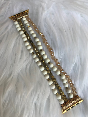 Ivory Stretch Beaded 42MM Watch Band