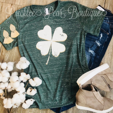 Clover Heather Grey Pattys Day Tee
