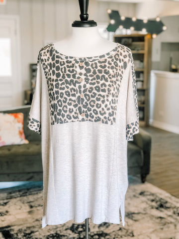 Tabby Taupe Plus Top