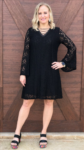 Black Bell Sleeve Lace Dress