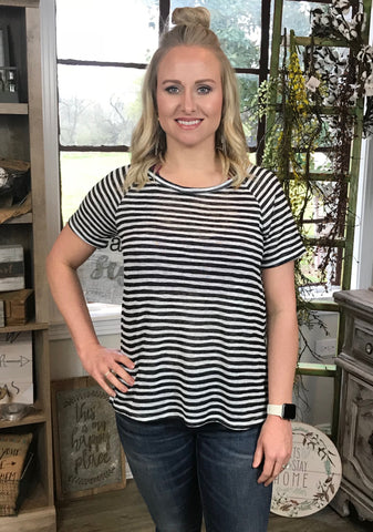 Willow Window Back Striped Top