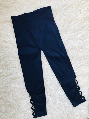 Navy Lattice-Hem High Waist Control Leggings