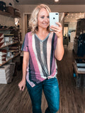 Power in Purple Knit Striped Top
