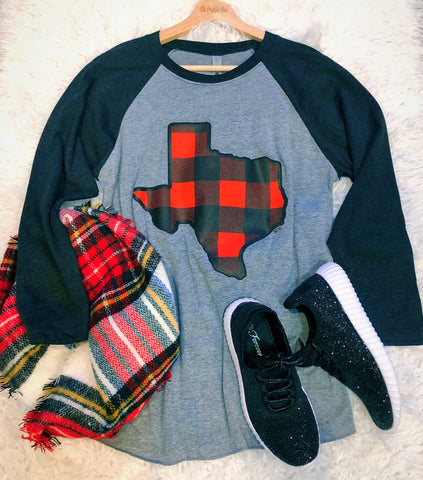 Texas Buffalo Plaid Christmas Raglan