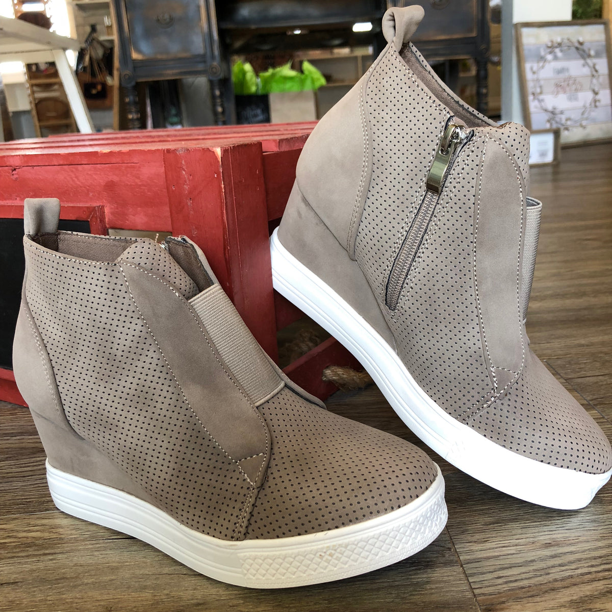 6fb82cff78 Zoey Taupe Wedge Sneakers – The Pricklee Pear Boutique