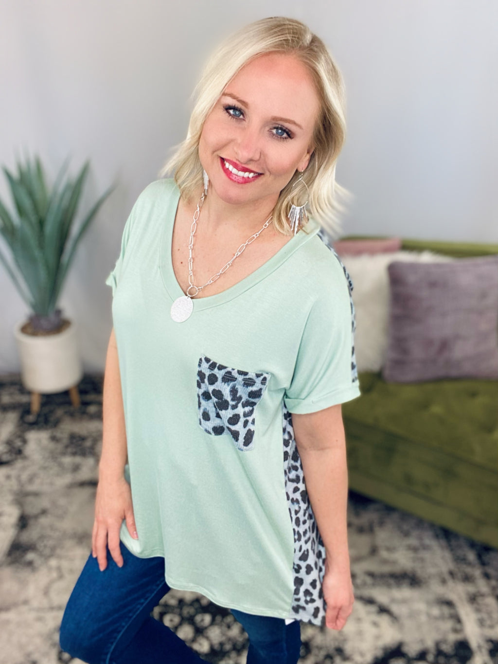 Mint Leopard Pocket Top