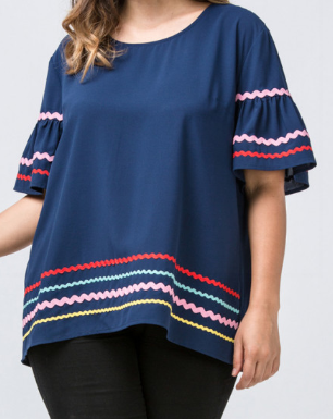 Navy Rickrack Plus Top