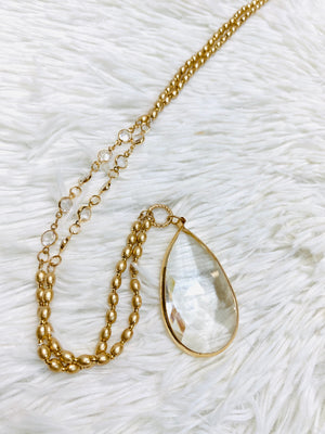 Gold Faceted Stone Necklace