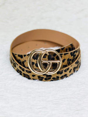 Leopard Faux Hair Belt