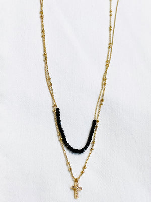 Black Bead & Cross Layered Necklace