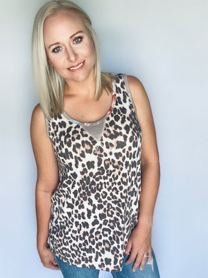 Taupe Leopard Floral Tank