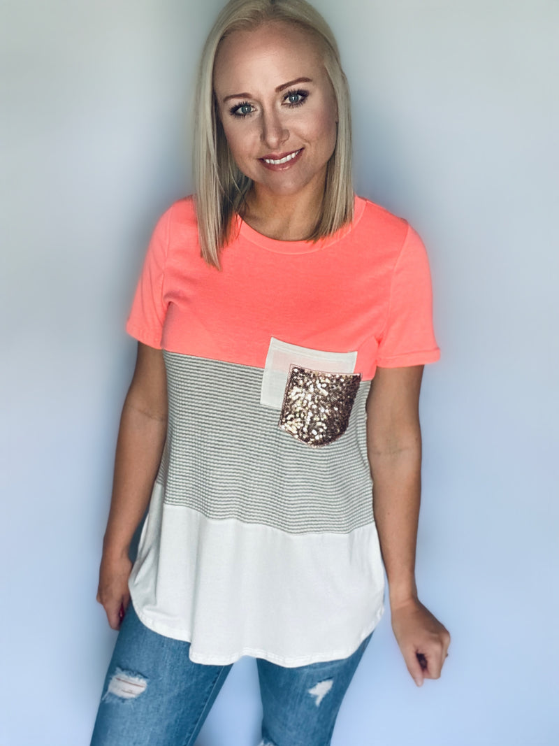 Neon Coral Pocket Top