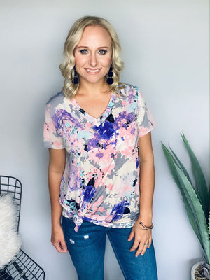 Purple & Grey Floral Top
