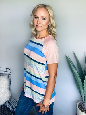 Pretty Pink & Blue Striped Top