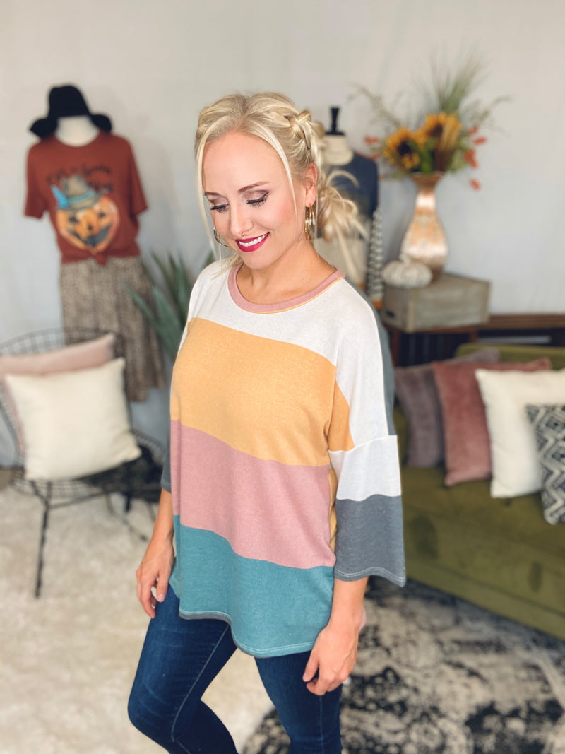 Wide Stripe 3/4 Sleeve Top