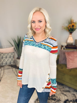 Ivory & Jade Button Top