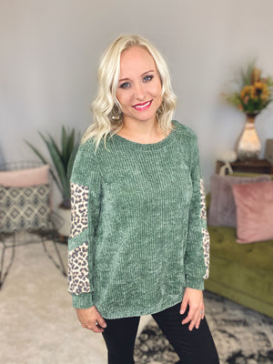 Olive Leopard Chenille Sweater