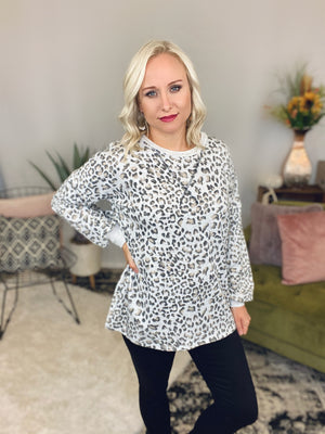 Heather Grey Leopard Sweatshirt
