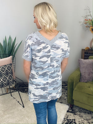 Grey Camo V-Neck Slub Sweater