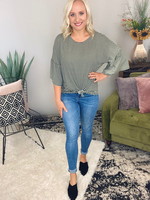 Olive Stripe Ruffle Sleeve Top