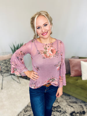 Sheer Floral Bell Sleeve Top