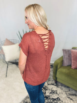 Brick Lace Up Sweater