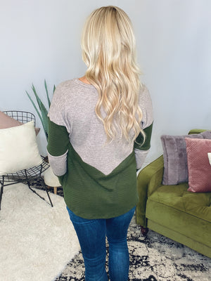 Olive Two Tone Long Sleeve
