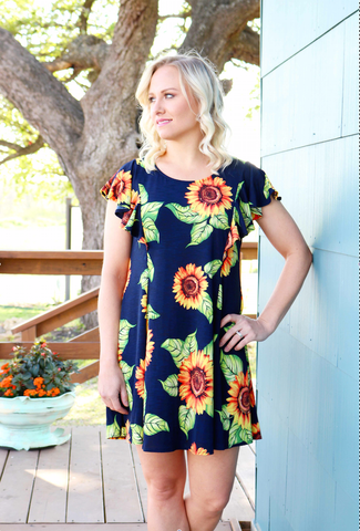 Navy Sunflower Dress