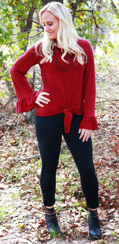 Red & Black Striped Top