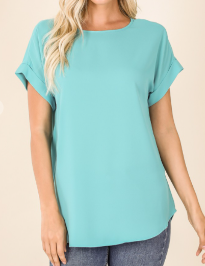 Ash Mint Rolled Sleeve Top