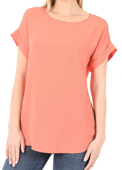 Coral Rolled Sleeve Top