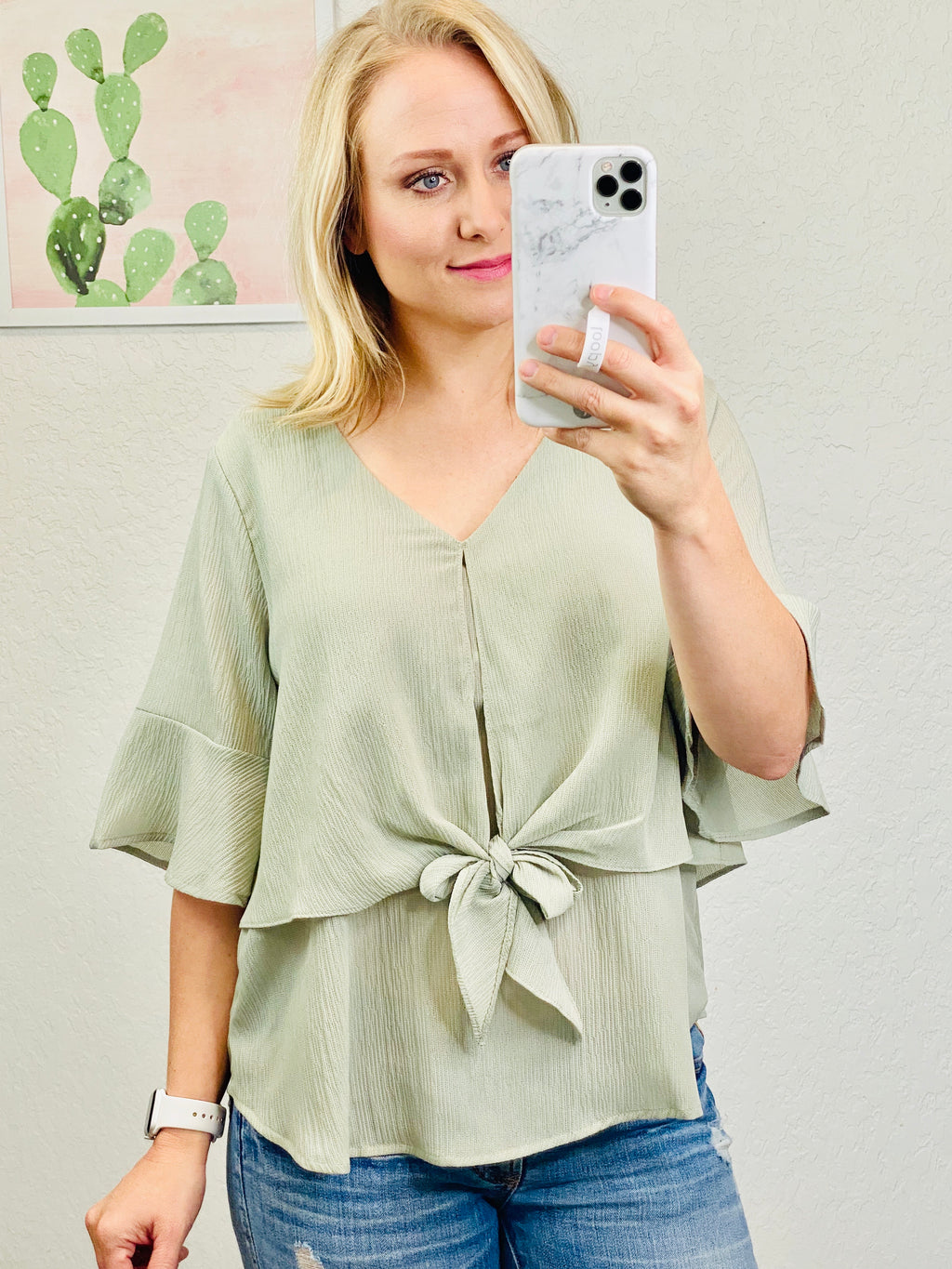 Layered Sage Tie Top