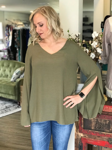 Slit Sleeve Olive Top