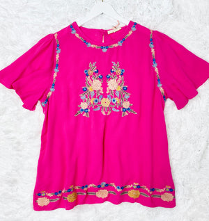 Hot Pink Embroidered Plus Top