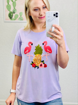 Lavender Embroidered Flamingo Top