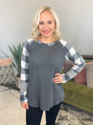 Grey & Ivory Buffalo Plaid Top