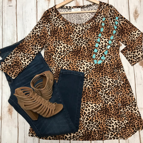 Leopard Plus Top w/ Button Detail