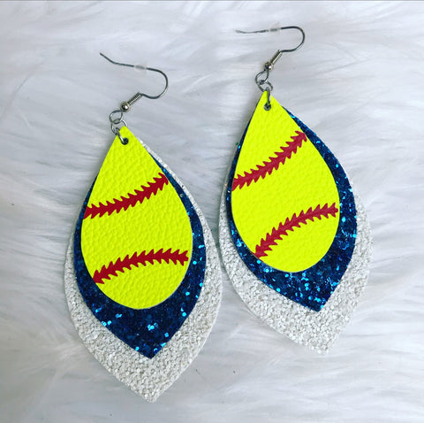 Blue & White Softball Earrings