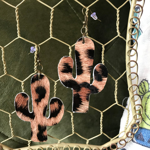 Leopard Cactus Earrings